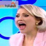 حمله فرد برهنه به مجری سکسی رومانی در برنامه زنده !