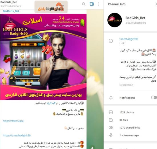 کانال تلگرام _ سایت شرط بندی بد گیرلز بت (BadGirls Bet)